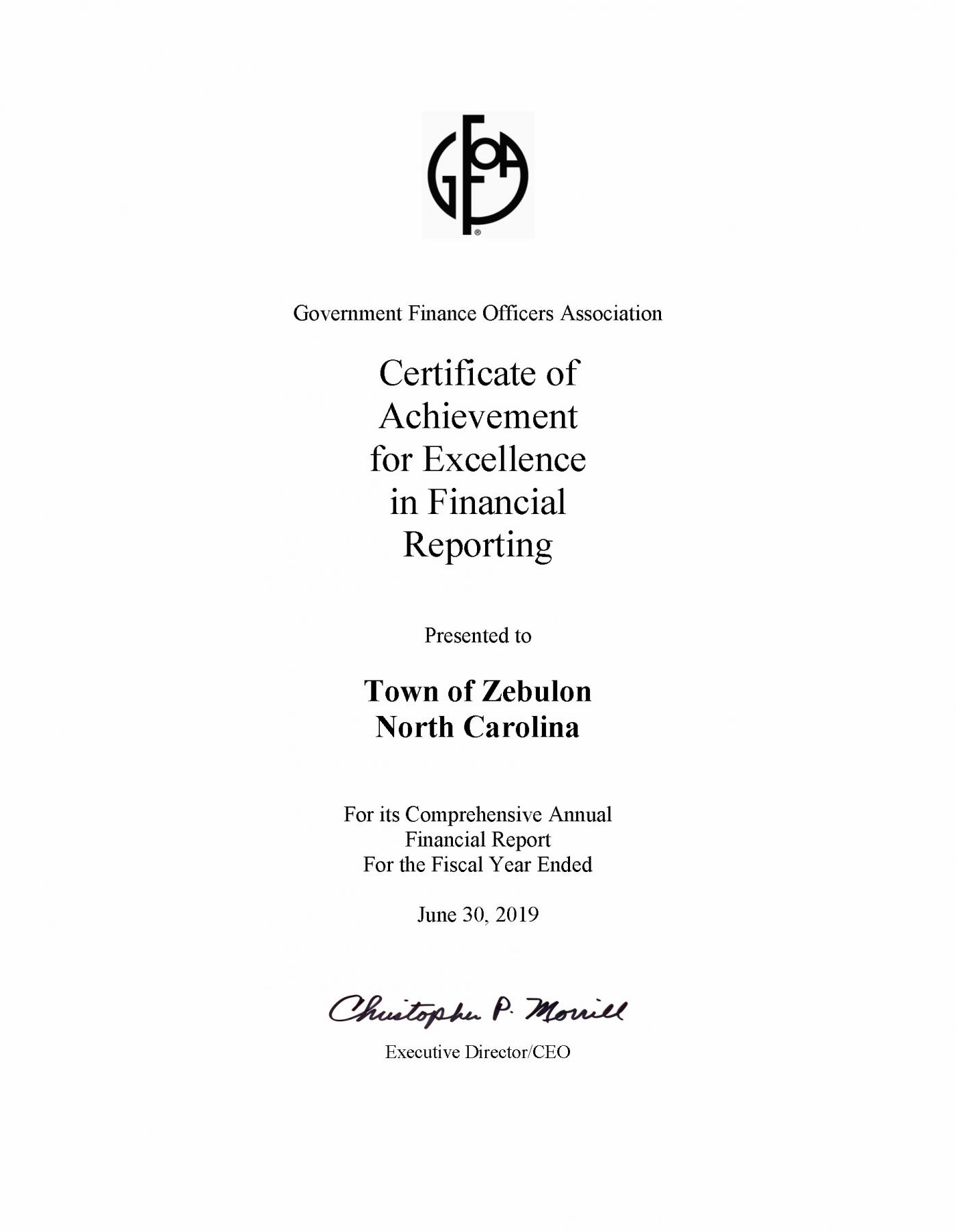 June 30, 2019 Certificate of Excellence in Financial Reporting