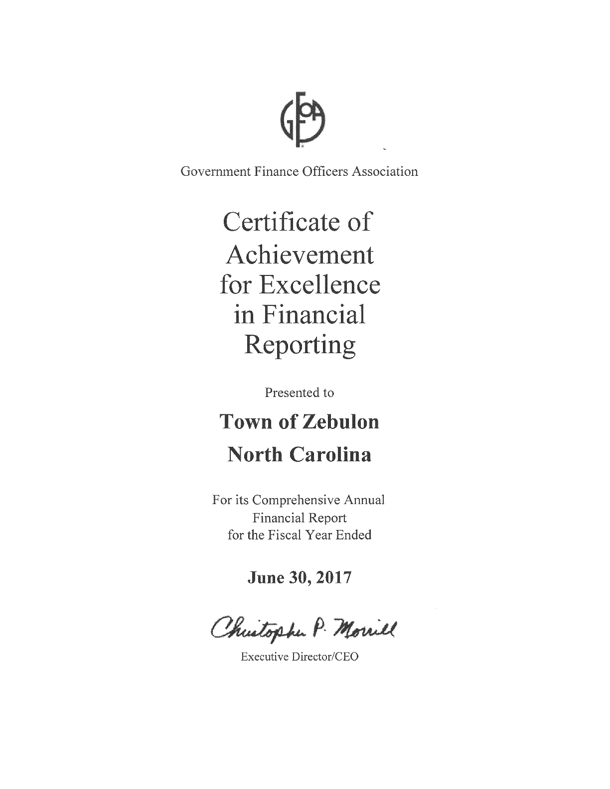 June 30, 2017 Certificate of Achievement for Excellence in Financial Reporting