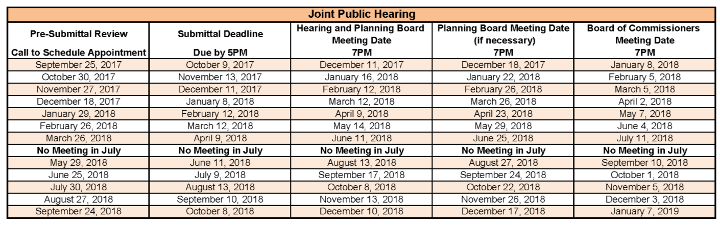 JPH Submittal Calendar